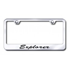 Explorer Script Engraved Chrome License Plate Frame