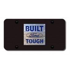 Built Ford Tough Brushed Stainless on Black License Plate