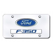 Dual Ford-F350 Chrome on Chrome License Plate