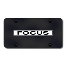 Focus Name Chrome on Black License Plate