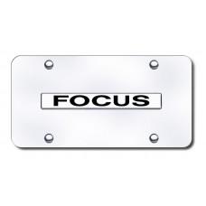 Focus Name Chrome on Chrome License Plate
