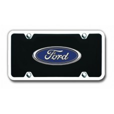 Ford Chrome on Black Acrylic License Plate Kit