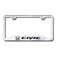 Civic Laser Etched Chrome Cut-Out License Plate Frame
