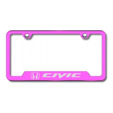 Civic Laser Etched Cut-Out Pink License Plate Frame