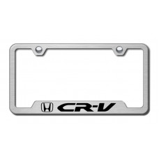 CRV Laser Etched Brushed Stainless Cut-Out License Plate Frame