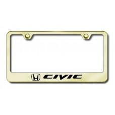 Civic Laser Etched Gold License Plate Frame