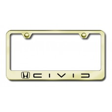 Civice (Reverse C) Laser Etched Gold License Plate Frame