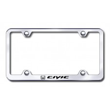 Civic Wide Body Laser Etched Chrome Metal License Plate Frame
