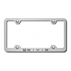 Civic (Reverse C) Wide Body Laser Etched Brushed Stainless Steel License Plate Frame