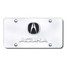 Dual Acura Chrome on Chrome License Plate