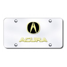 Dual Acura Gold on Chrome License Plate