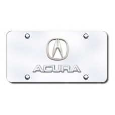Dual Acura 'No Fill' Chrome on Chrome License Plate