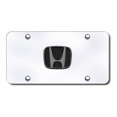 Honda Black Pearl Logo on Chrome License Plate