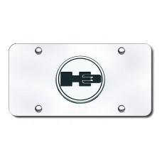 H3 Logo Chrome on Chrome License Plate