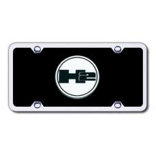 H2 Logo CHR/BLK Acrylic License Plate Kit