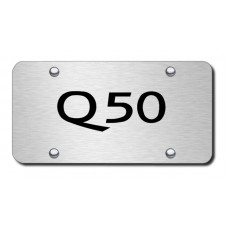 Q50 Name Laser Etched Brushed Stainless Steel License Plate