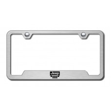 Jeep Grille Laser Etched Brushed Stainless Steel Cut-Out License Plate Frame