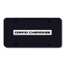 Grand Cherokee Name Chrome/Black License Plate