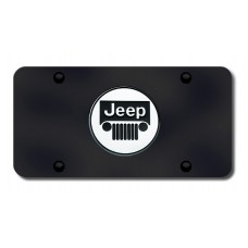 Jeep Logo Chrome on Black License Plate