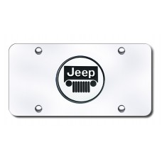 Jeep Logo Chrome on Chrome License Plate