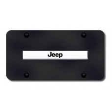 Jeep Name Chrome on Black License Plate