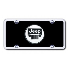 Jeep Chrome on Black Acrylic License Plate Kit