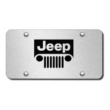 Jeep Grill Laser Etched Brushed Stainless Steel License Plate