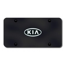 Kia OEM Logo Chrome on Black License Plate