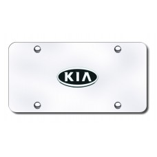 Kia OEM Logo Chrome on Chrome License Plate