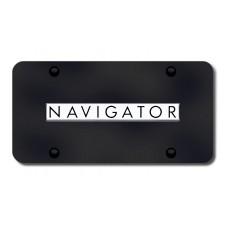 Navigator Name Chrome on Black License Plate