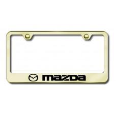 Mazda Laser Etched Gold Metal License Plate Frame