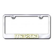Mazda 3D Name Gold on Chrome License Plate Frame