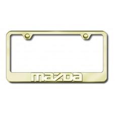 Mazda 3D Name Gold on Gold License Plate Frame
