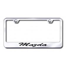 Mazda Script Laser Etched Chrome License Plate Frame