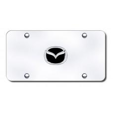 Mazda New-Logo Black/Chrome on Chrome License Plate