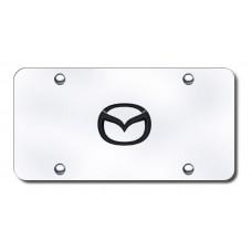 Mazda (New) Logo BlkPrl/Chrome License Plate