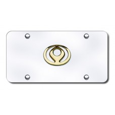 Mazda Old-Logo Gold on Chrome License Plate