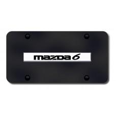 Mazda 6 Name Chrome on Black License Plate