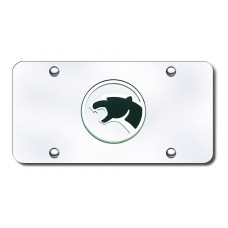 Cougar Logo Chrome on Chrome License Plate
