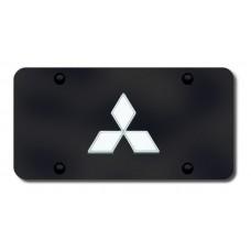 Mitsubishi Logo Chrome on Black License Plate