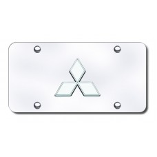 Mitsubishi Logo Chrome on Chrome License Plate