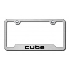 Cube Laser Etched Brushed Stainless Cut-Out License Plate Frame