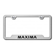 Maxima Laser Etched Brushed Stainless Steel Cut-Out License Plate Frame
