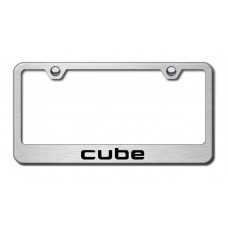 Cube Laser Etched Brushed Stainless Steel Metal License Plate Frame