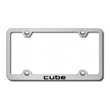 Cube Laser Etched Wide Body Brushed Stainless Steel License Plate Frame