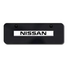 Nissan Name Chrome on Black Mini License Plate