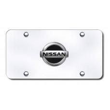 Nissan Logo Black/Chrome on Chrome License Plate