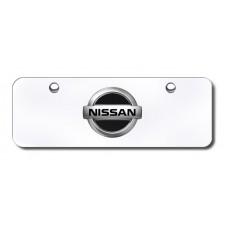 Nissan Logo Black/Chrome on Chrome Mini License Plate