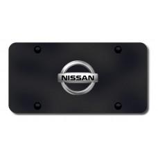 Nissan Logo Chrome on Black License Plate
