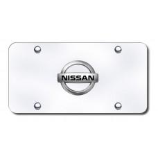 Nissan Logo Chrome on Chrome License Plate